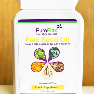 60 x 100ml 100% natural flax seed oil food supplement capsules