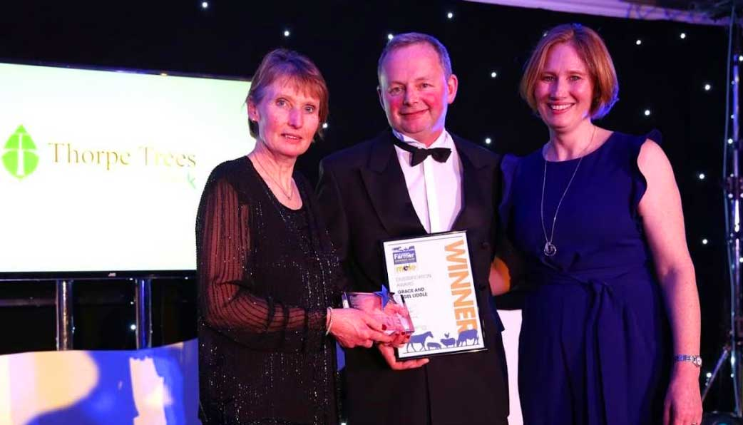 Grace & Nigel being presented with their The Northern Farmer Diversification Award 2019