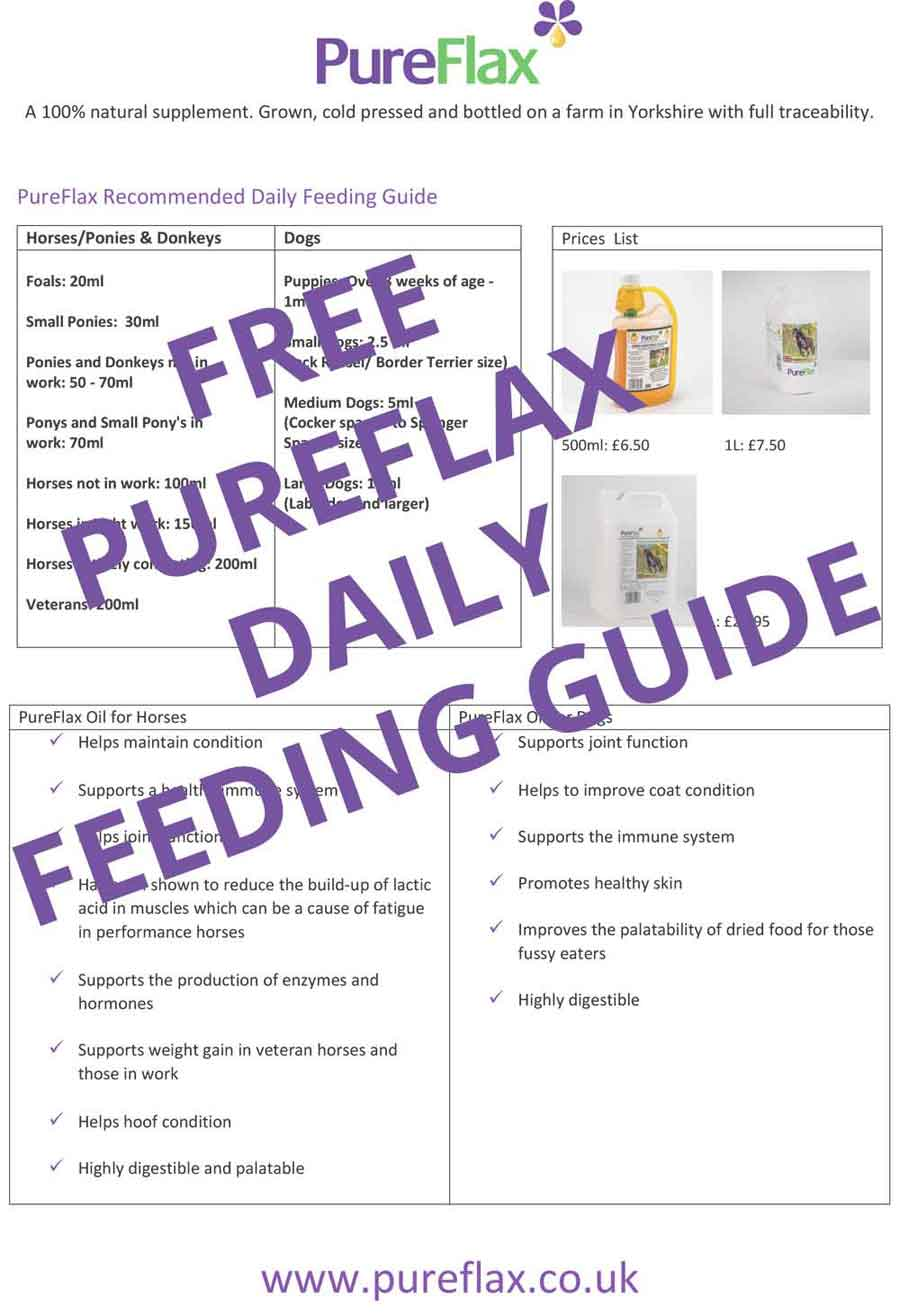 PureFlax Flax Seed Oil Recommended Feeding Guide for Horses & Dogs