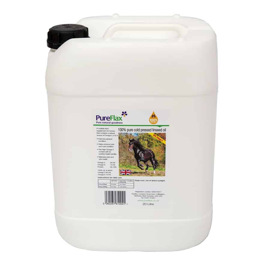20 Litre Drum of 100% Natural PureFlax Flax Seed Oil for Horses