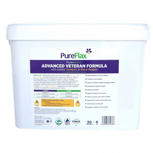 Advanced Veteran Formula Linseed - PureFlax PureHealth 6kg - back of container