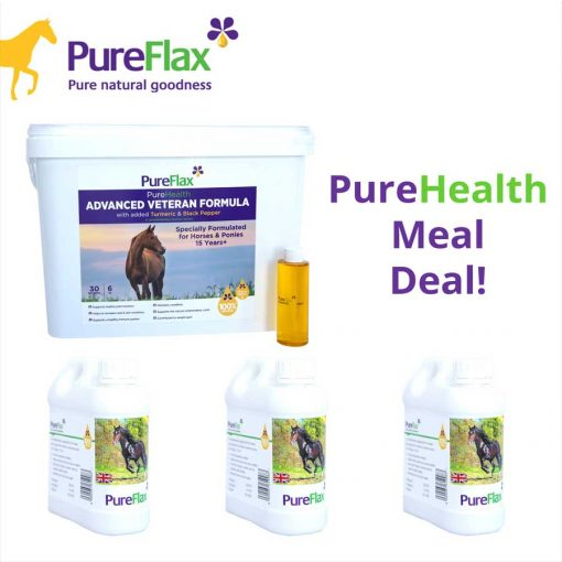 Healthy Horse Meal Deal - 6kg Advanced Veteran Formula + 3 x 1L 100% Natural Linseed Containers