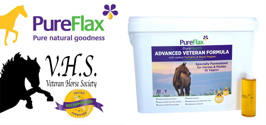Veteran Horse Society recommended & approved Advanced Veteran Formula Linseed Product by PureFlax