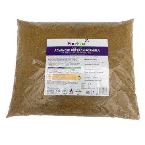 6kg EcoRefill label of Advanced Veteran Formula 100% Natural PureFlax Linseed for horses 15+