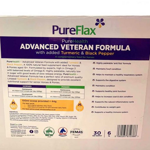 6kg EcoRefill box of Advanced Veteran Formula 100% Natural PureFlax Linseed for horses 15+