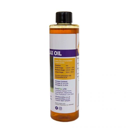 250ml 100% Natural Linseed Oil for dogs & small pets - label view