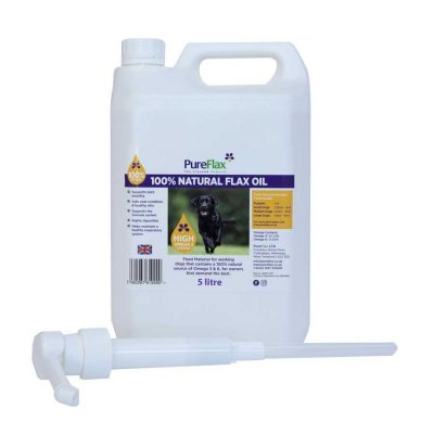 5 Litre Container Natural Linseed Oil for Dogs with Dispenser